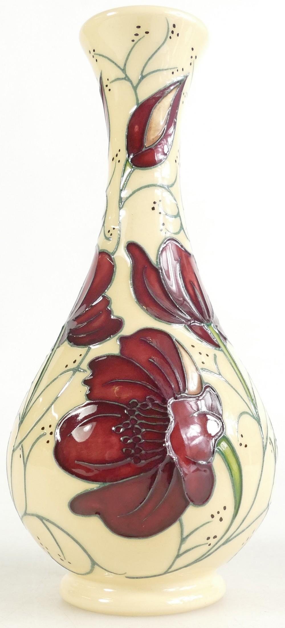Lot 525 - Moorcroft Chocolate Cosmos vase. Shape 8