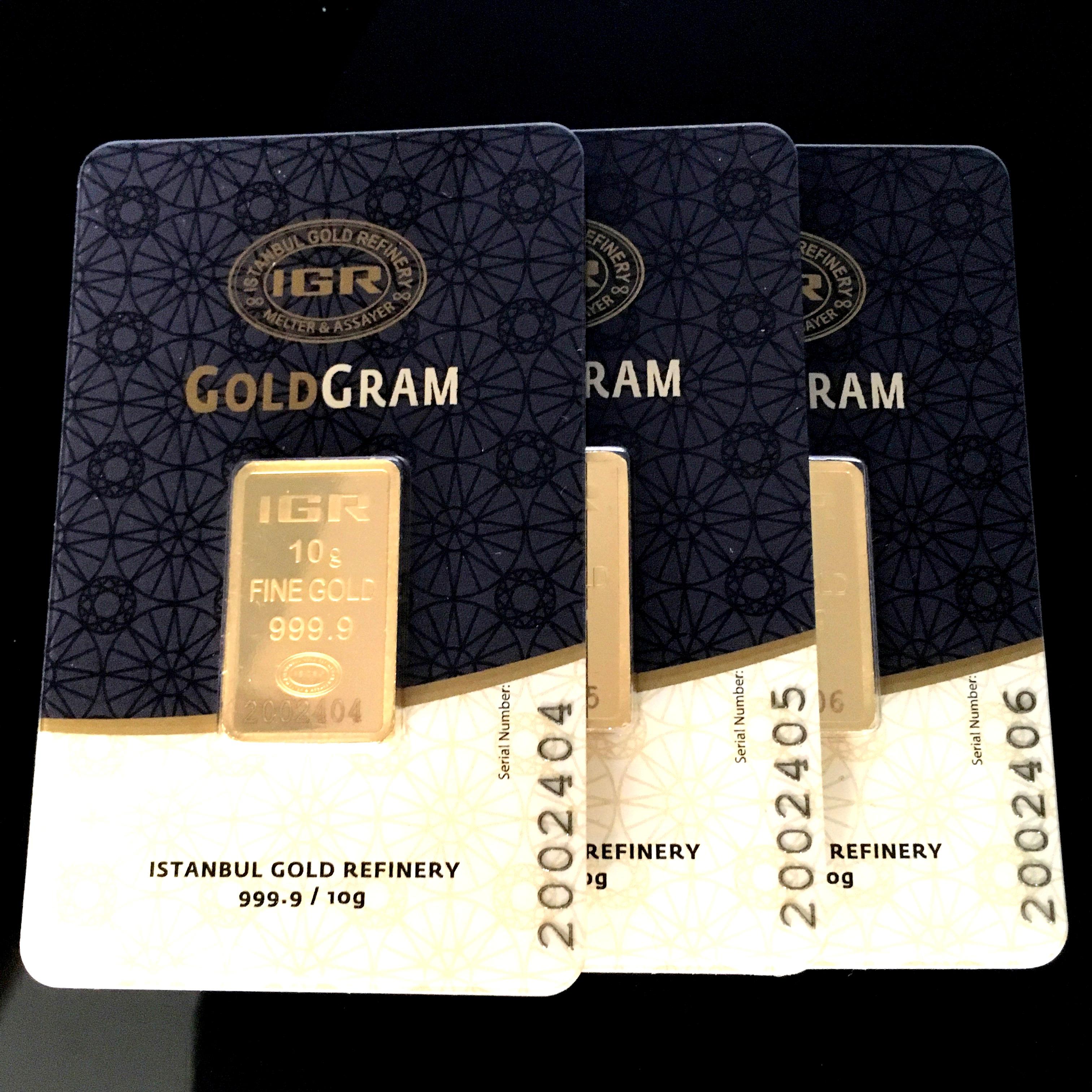Lot 40 - 3x 10 Gram (Total 30g) 99.99% (24K) Gold Bullion