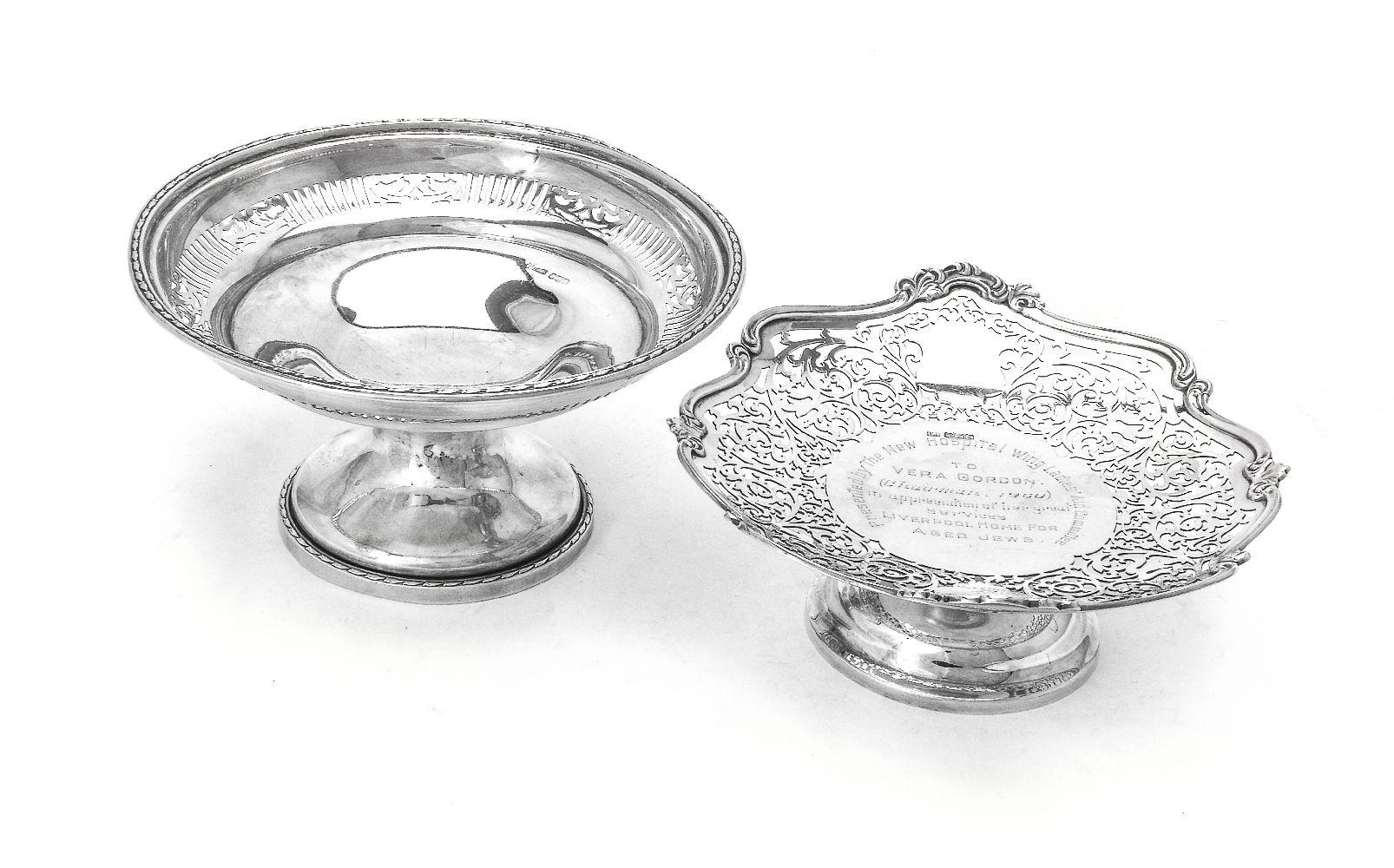 Lot 620 - Two silver pedestal baskets