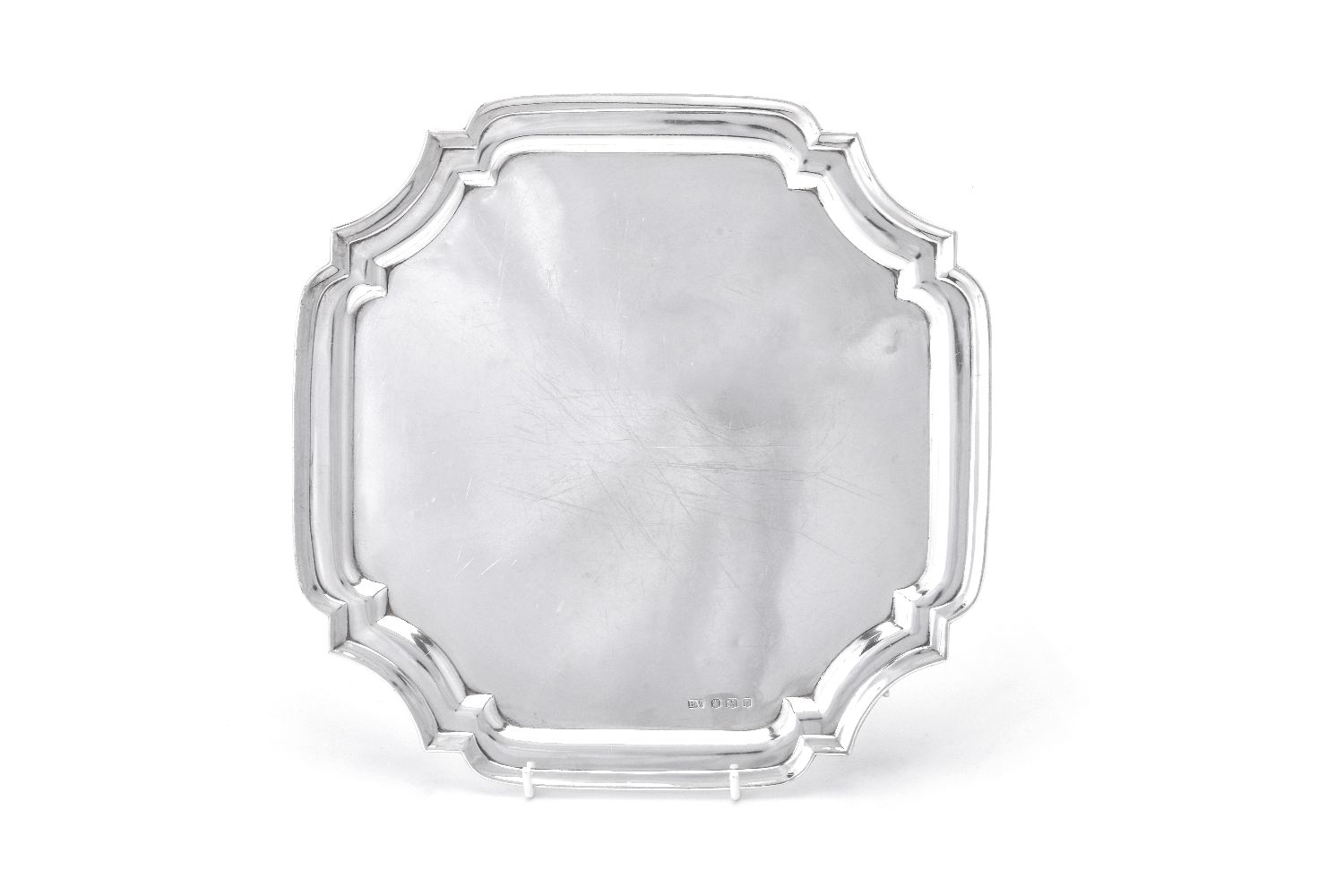 Lot 619 - A silver shaped square salver by Viners