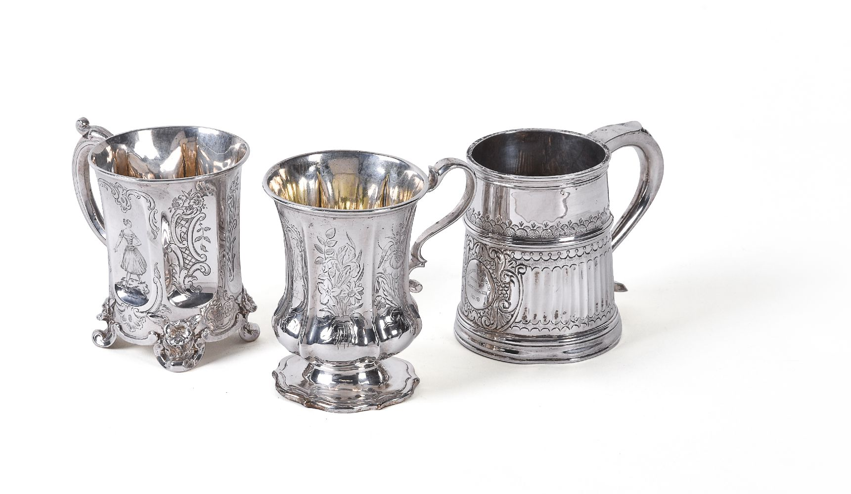 Lot 643 - Three silver christening mugs