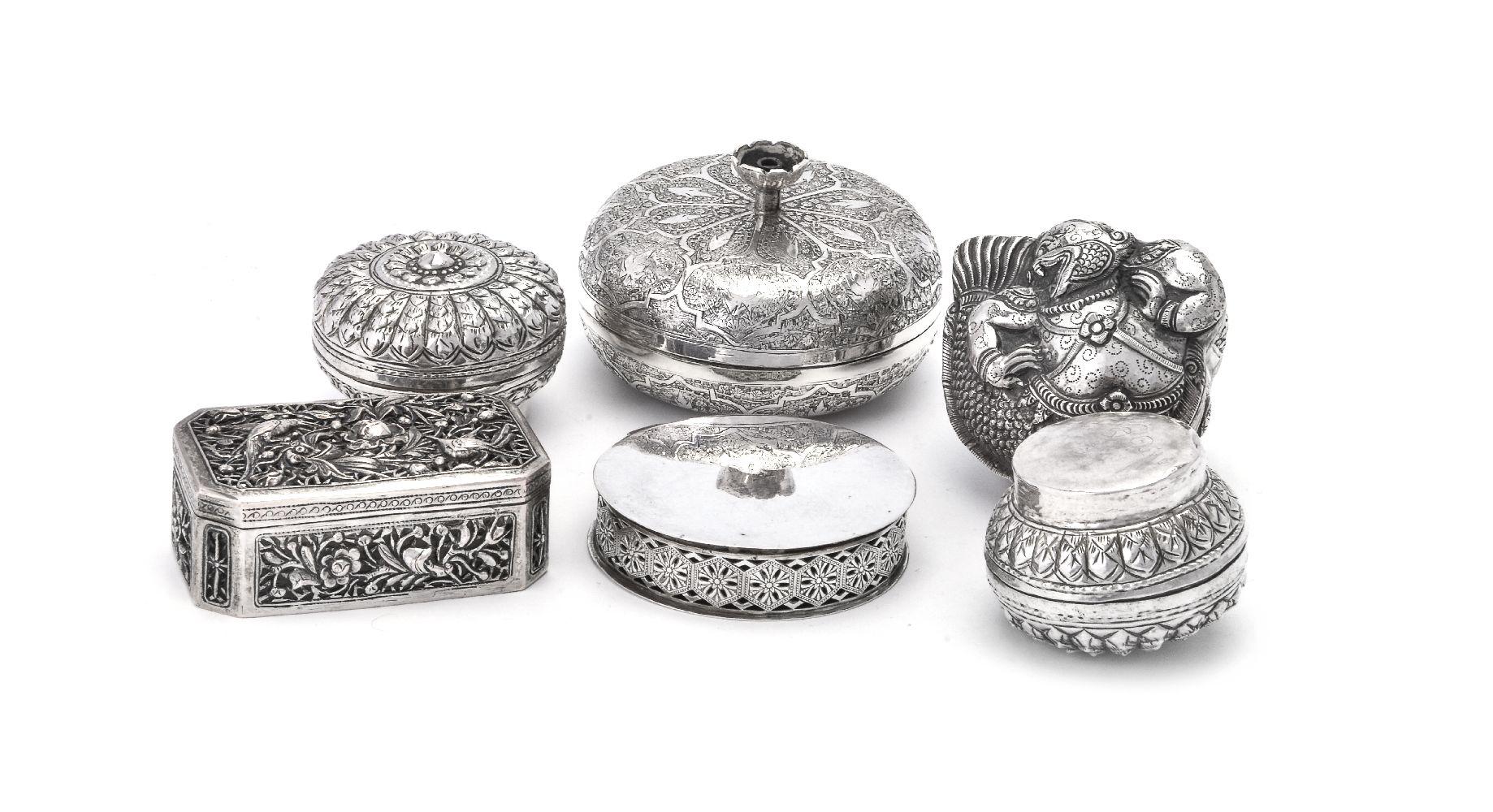 Lot 814 - Five Asian silver boxes