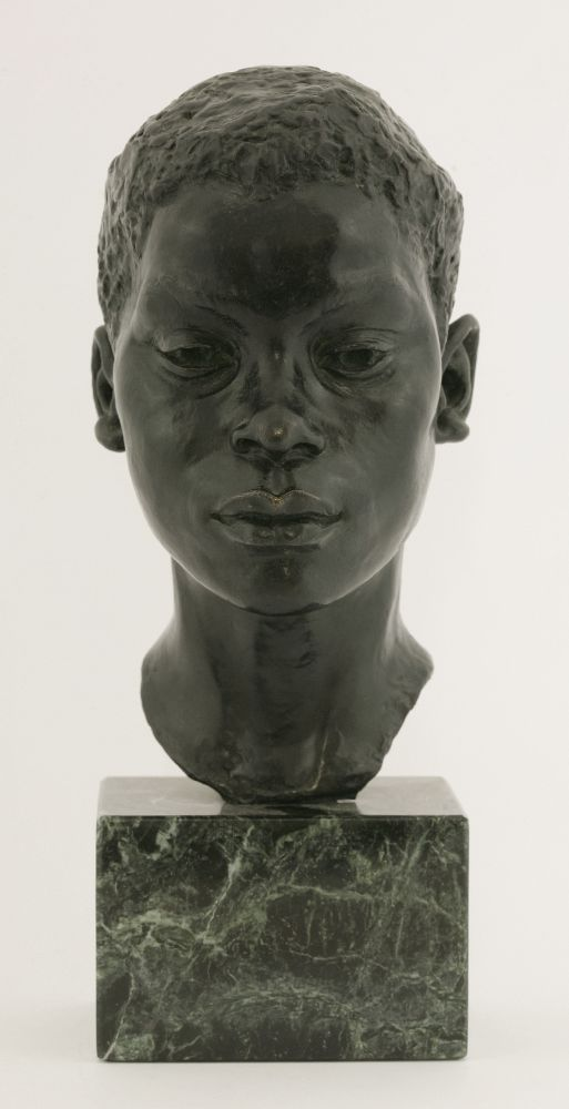 Lot 596 - *Sharon Keenan (20th Century)a bronze bust of a black boy, signed and dated 1980 and numbered 9/