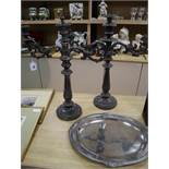 A pair of Victorian Old Sheffield plate candelabra and an oval plated tray candelabra height 57cm