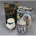 Star Wars - five Hasbro action figures, including three with 'Moviemotion' and Denys Fisher R2D2