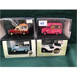 4x Oxford Ice Cream Vans Diecast Models All On Display Boxes, Comprising Of; #CA021 Mr Softy Bedford