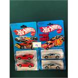 4x Hot Wheels Race Bait 308 Red And 2x Silver Cars - On Unopened Card all mint on card
