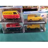 4x Oxford Diecast Models All On Display Boxes, Comprising Of; #JMA002 BMC Van Certificate 0287 Of