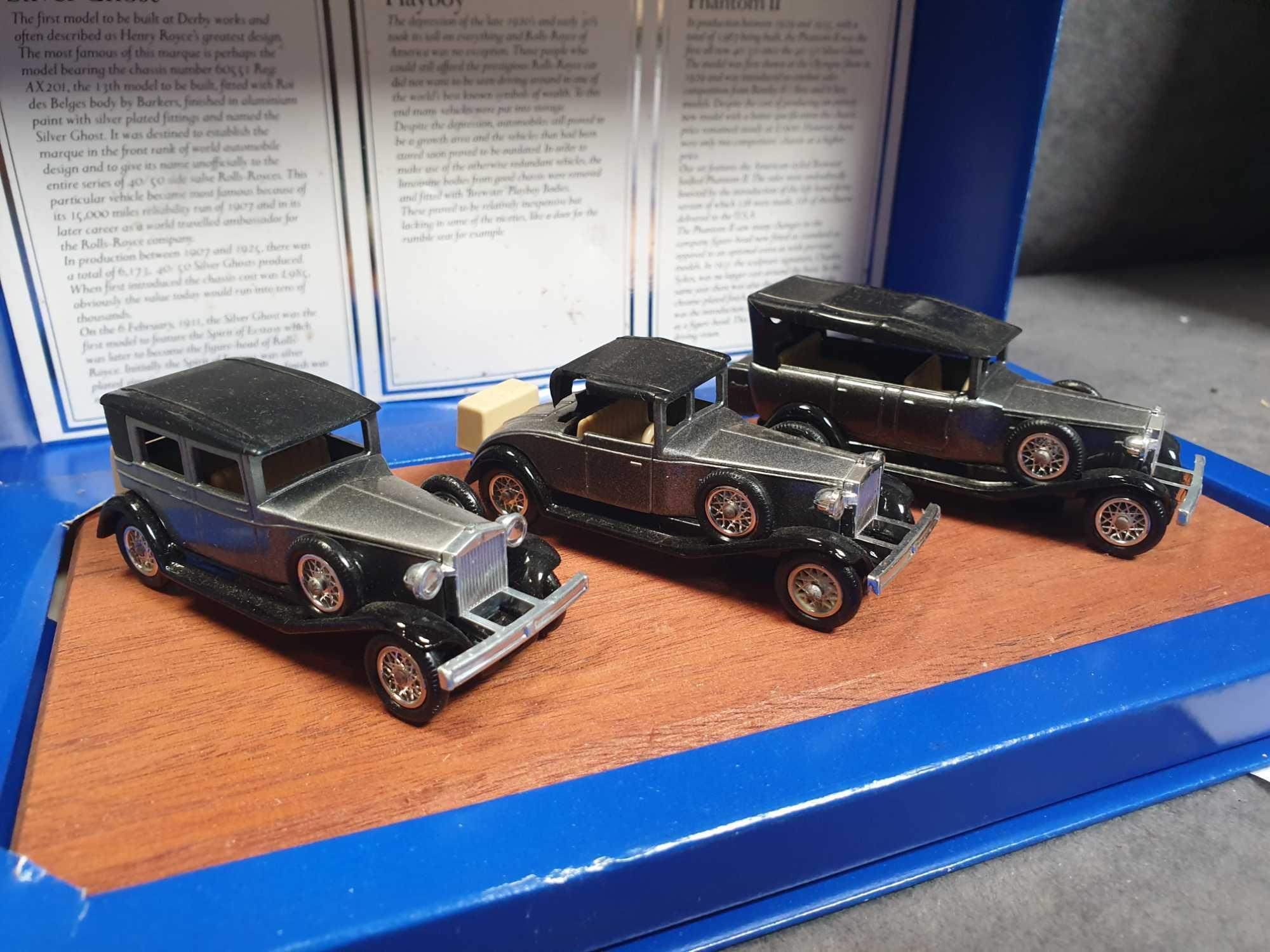 Lledo Vintage Rolls Royce Collection 3 Cars On Wooden Display Plinth Mint Model - Image 2 of 4