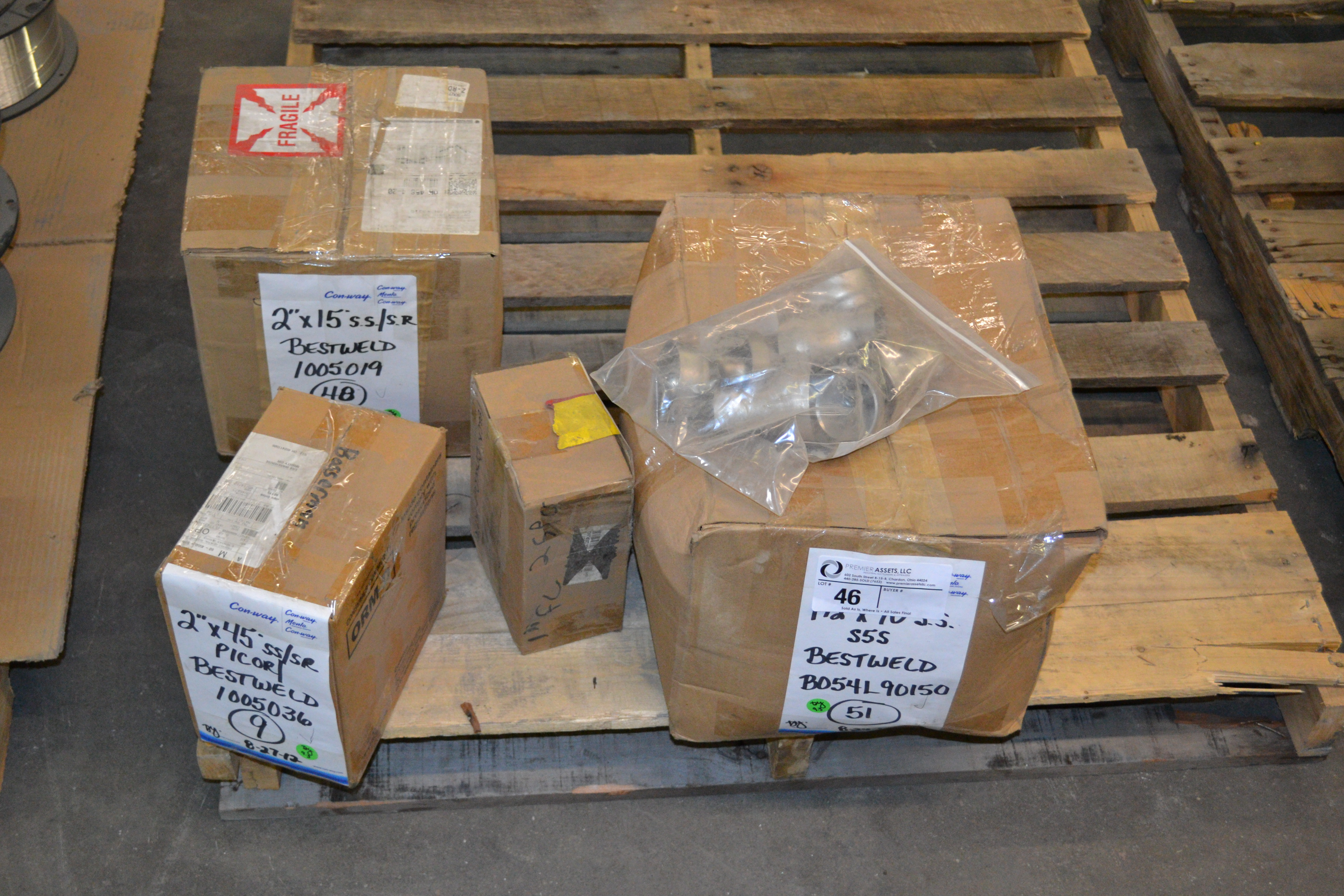 "Lot 46 - skid with boxes of Bestweld SS/SR fittings, 2"" x 15*, 2 x 45* & 1.5"" x 90*"