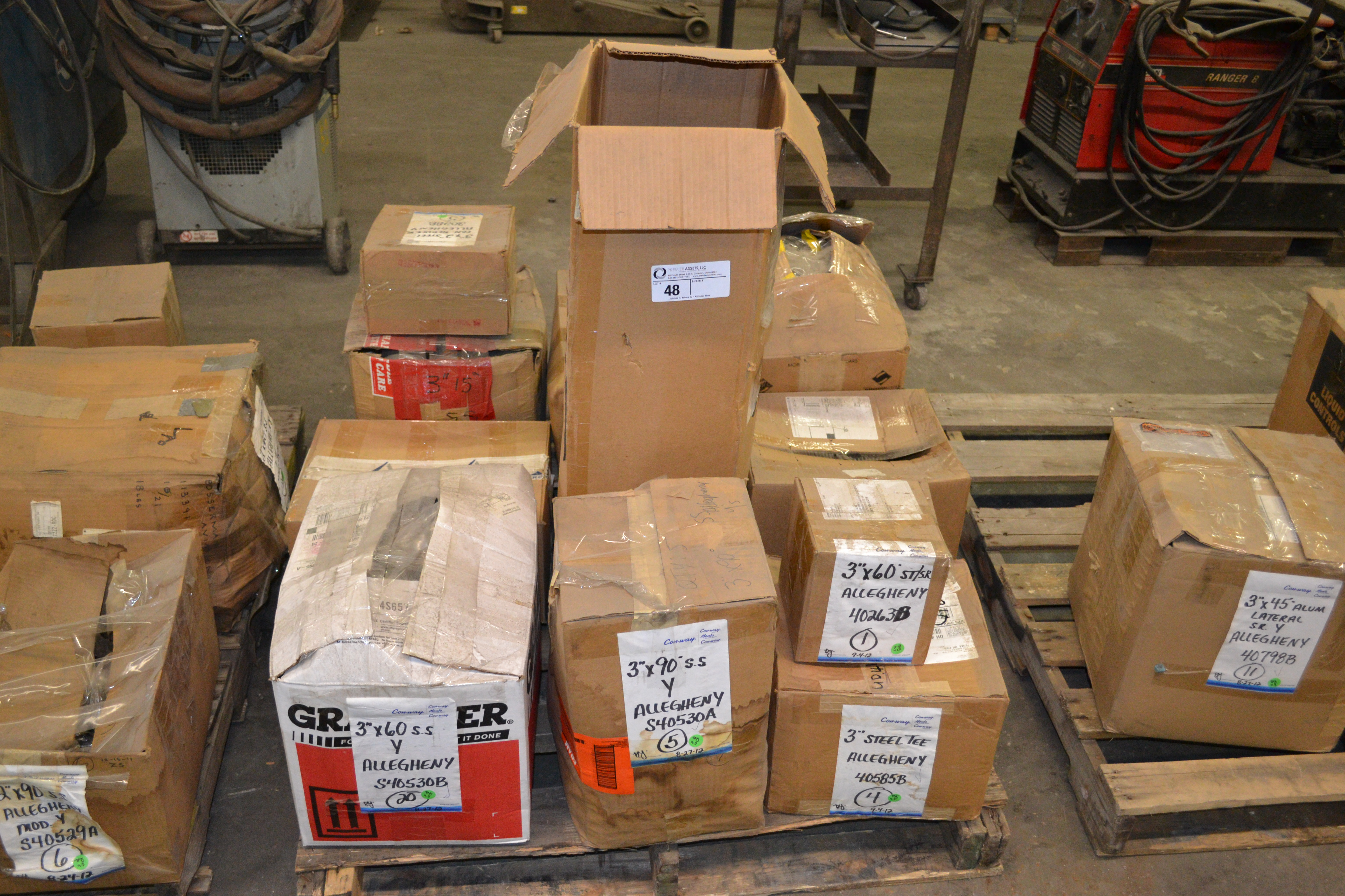 "Lot 48 - skid with boxes of Allegheny SS/SR & Steel 3"" fittings, degrees - 60, 90, Tees, Cross,15, 30 &"