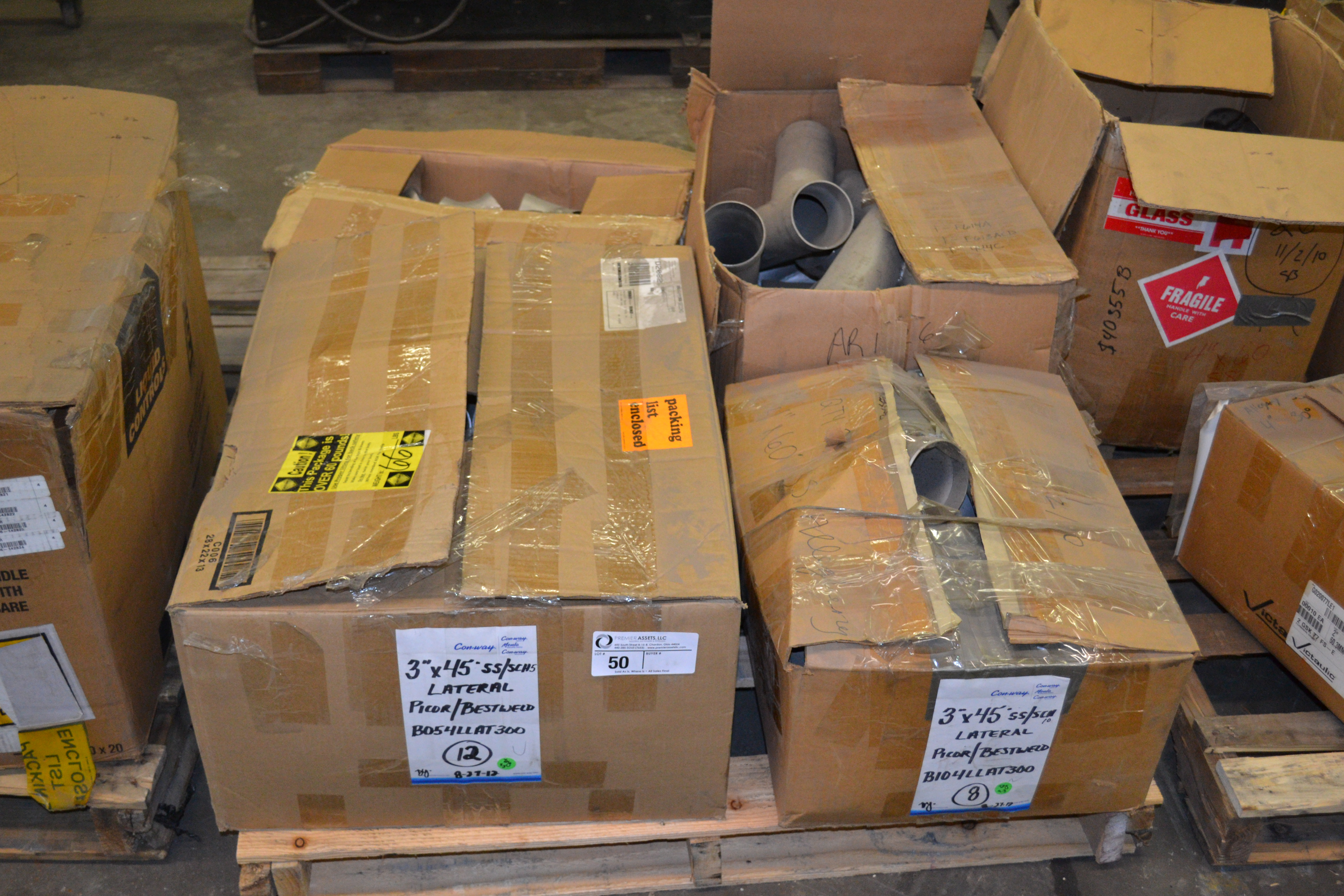 """Lot 50 - skid with boxes of Picor & Bestweld 3"""" SS fittings, Y's degrees - 60 & 45"""