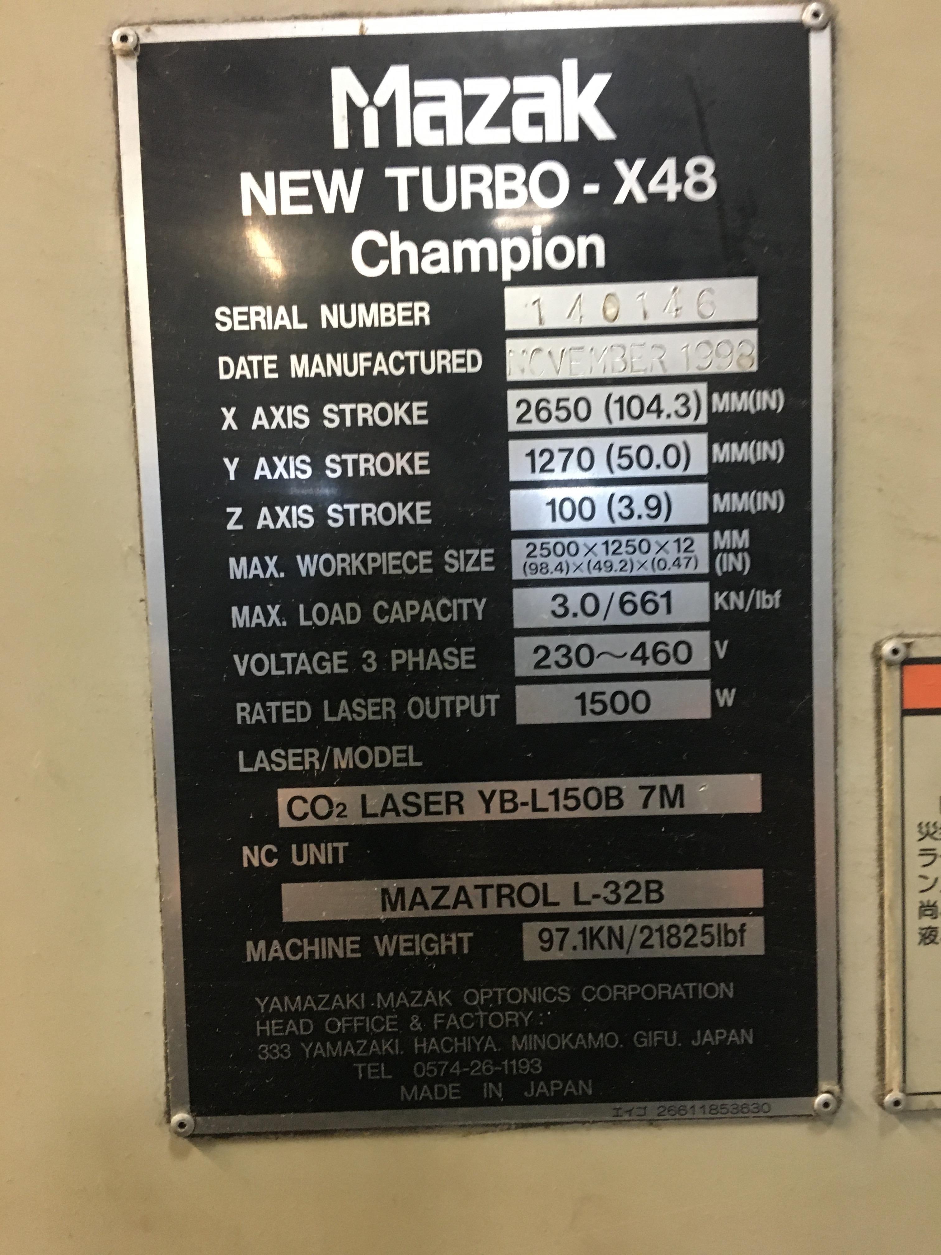 "Mazak Model X-48 Champion Co2 Laser, 1500 Watt, 49"" x 98"" Capacity, Orion Chiller, 55,000 Hours - Image 9 of 10"