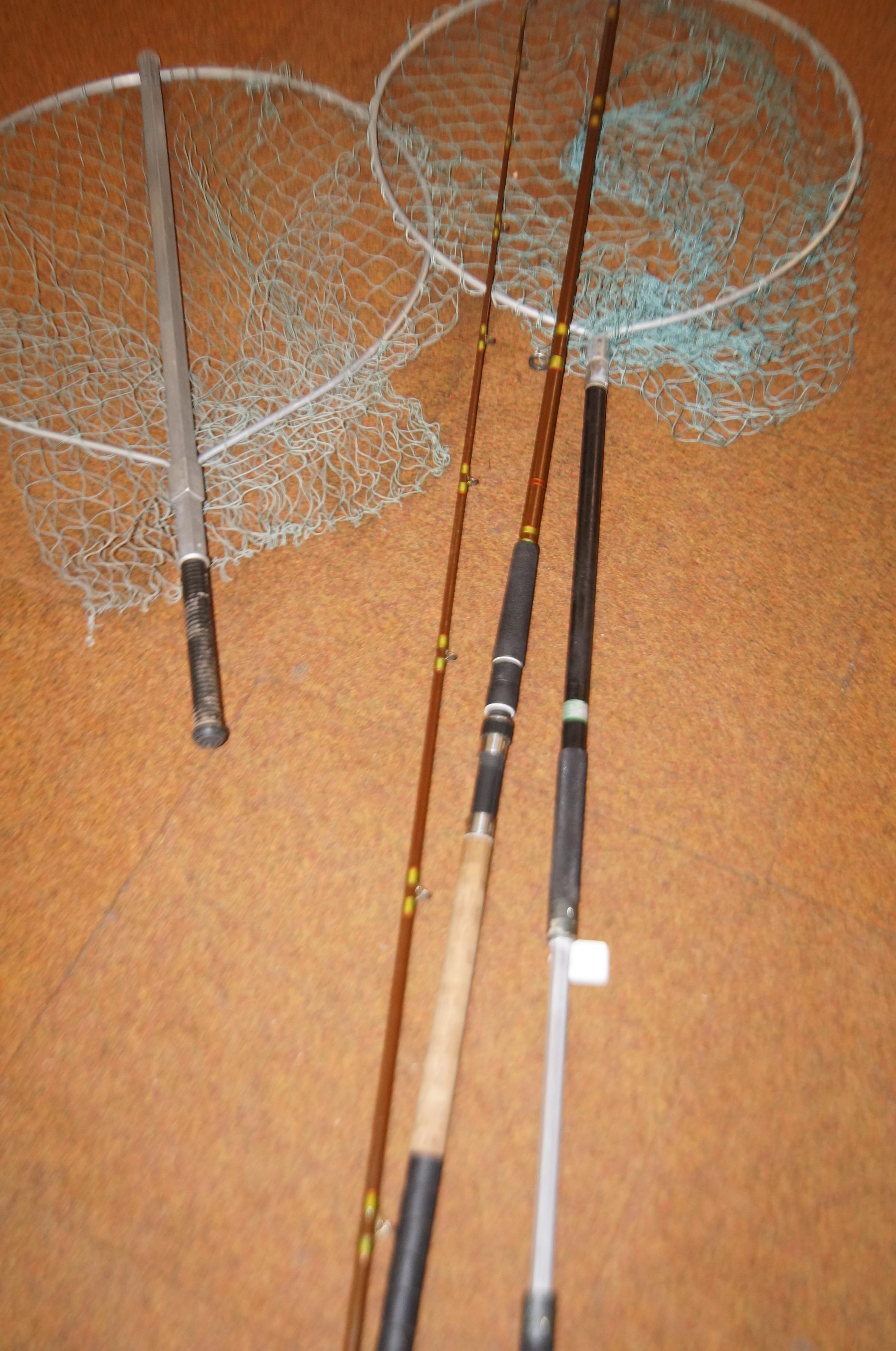 Lot 209 - Vintage fishing rod & 2 fishing nets