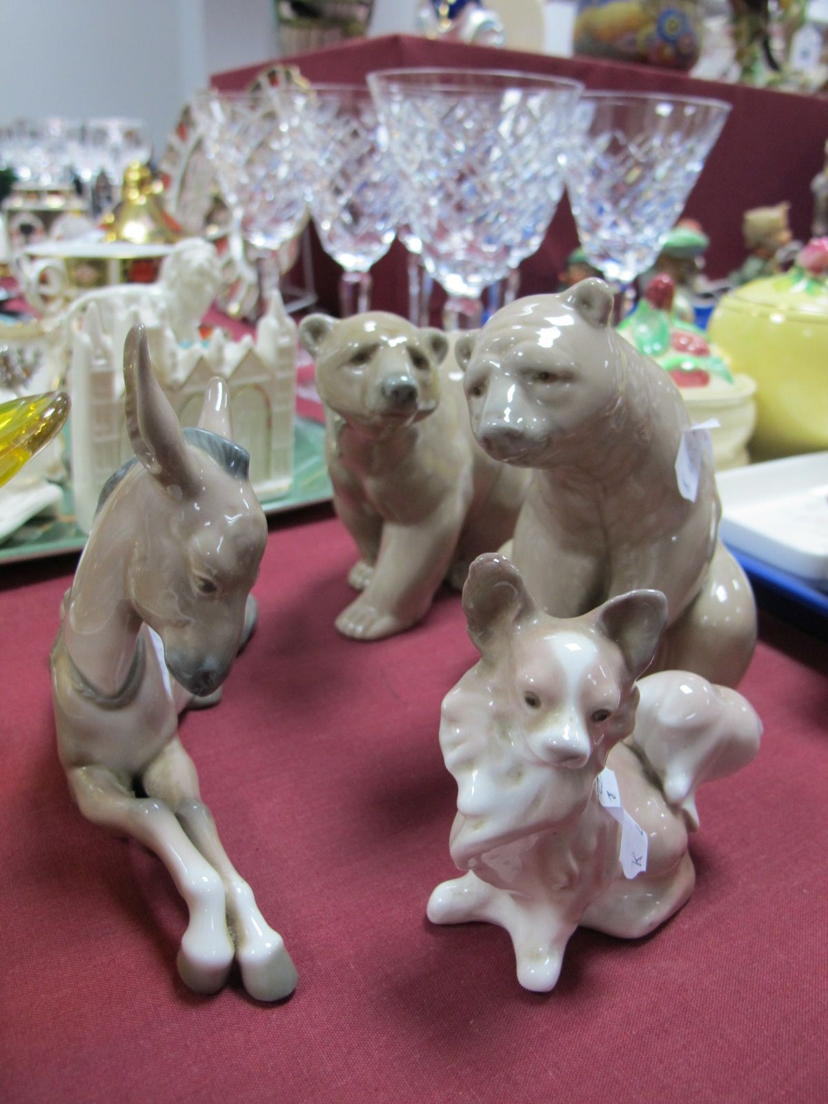 Lot 36 - Two Lladro Figures of Bears, Lladro figure of a donkey and a dog. (4)