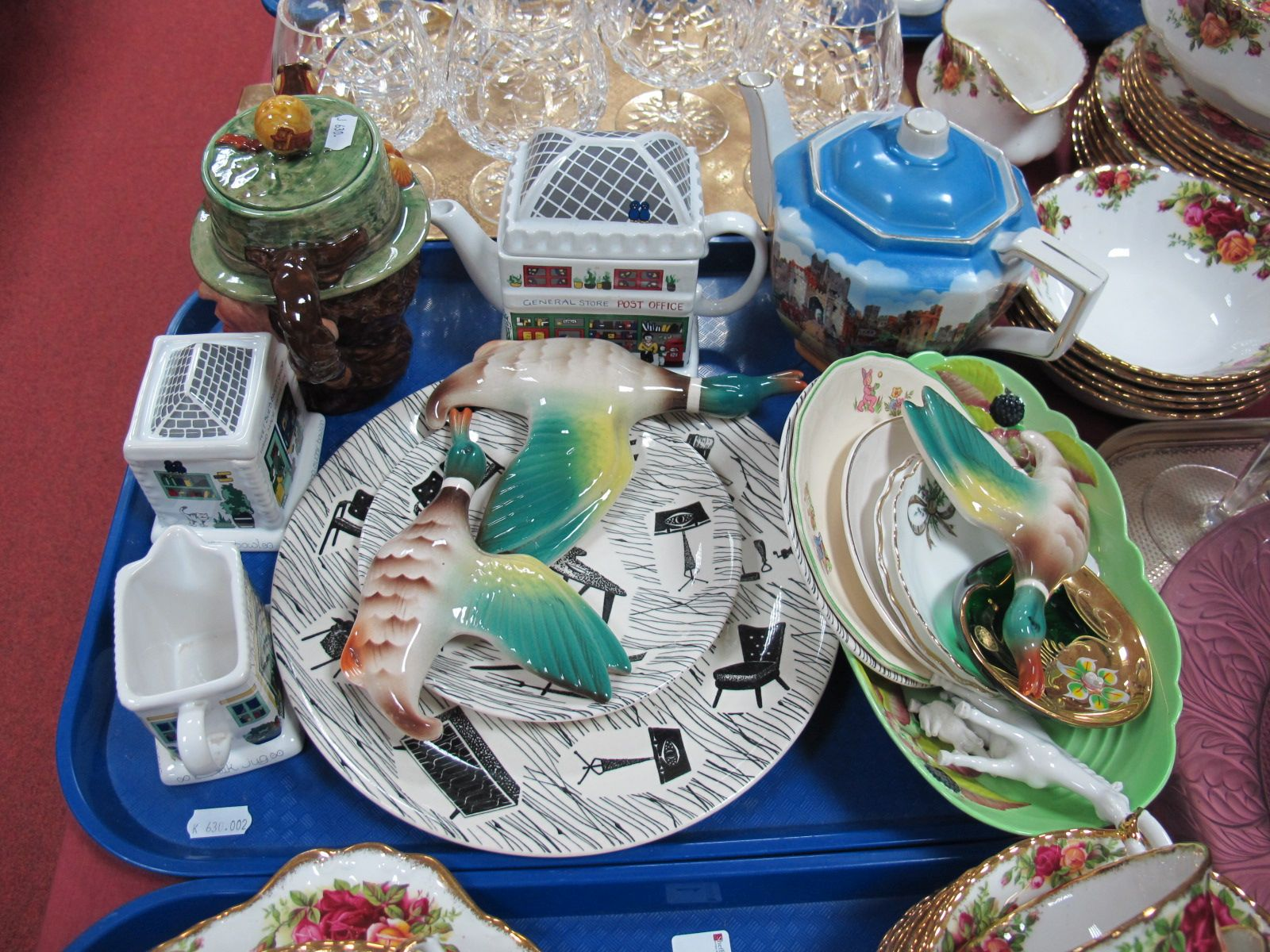 Lot 3 - Three Pottery Flying Ducks, Wade tea set, Beswick & Newhall teapots, homemaker plates, etc:- One