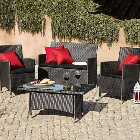 Lot 59004 - V Brand New Balinese Four Piece KD Conversation Set - Slate Grey Colour - Comes With Four Red