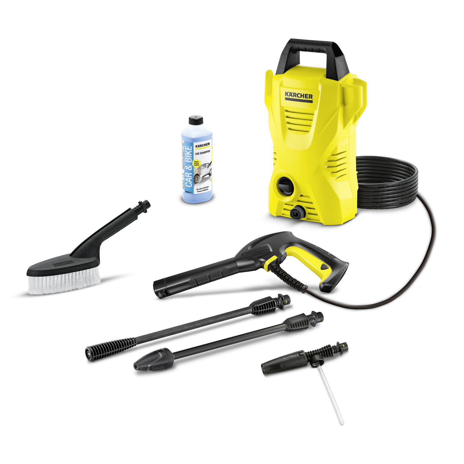 Lot 59016 - V Brand New Karcher K2 Compact Car High Pressure Cleaner With Wash Brush - Foam Nozzle & Car Shampoo