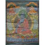 Tibetan Thangka of Buddha Akshobhya, inscribed on the back, distemper on cloth, 19th century,