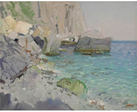 Bato Dugarzhapov (Russian b.1966)'The Calm'inscribed in Cyrillic verso, oil on canvas41 x 51cmDugarzhapov studied and perfect