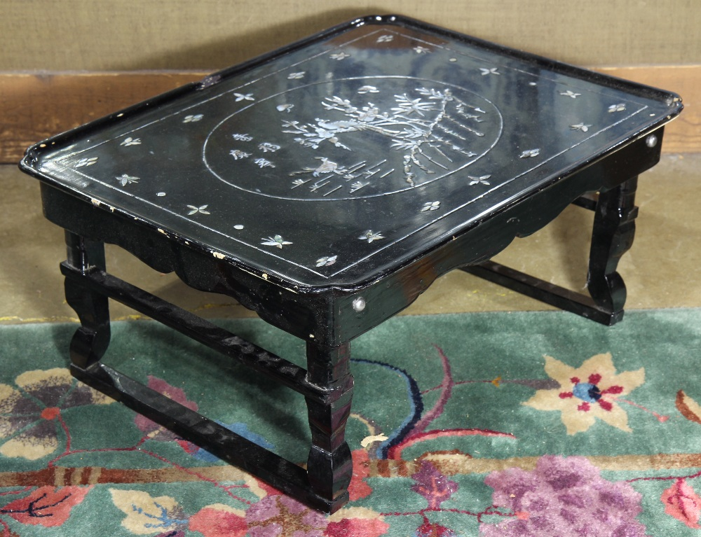 Lot 55a Korean Black Lacquered Folding Table With Mother Of Pearl Inlay