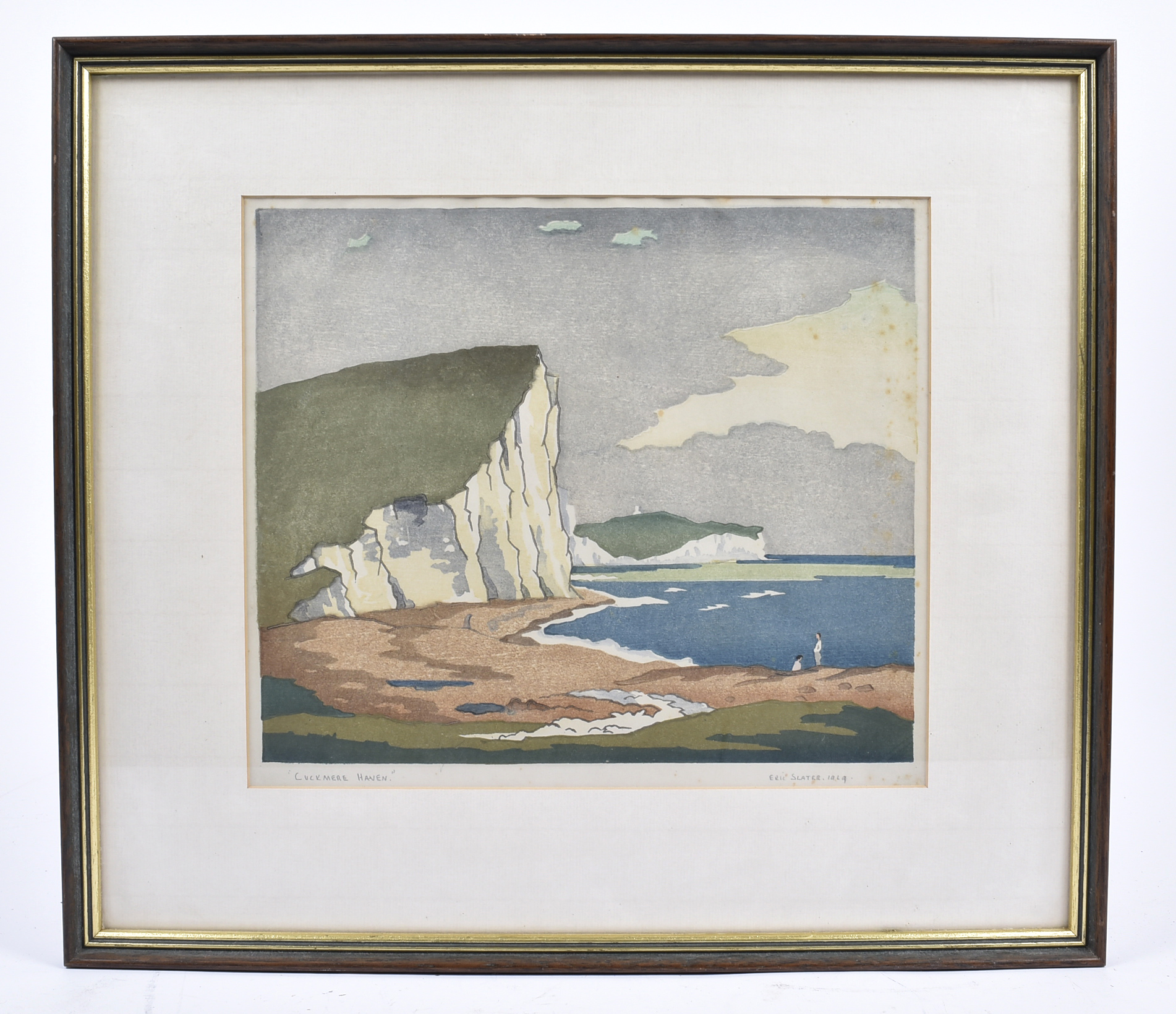 Eric Slater (1896-1963) coloured woodcut, 'Cuckmere Haven', 1929, signed, dated and titled in pencil - Image 2 of 2