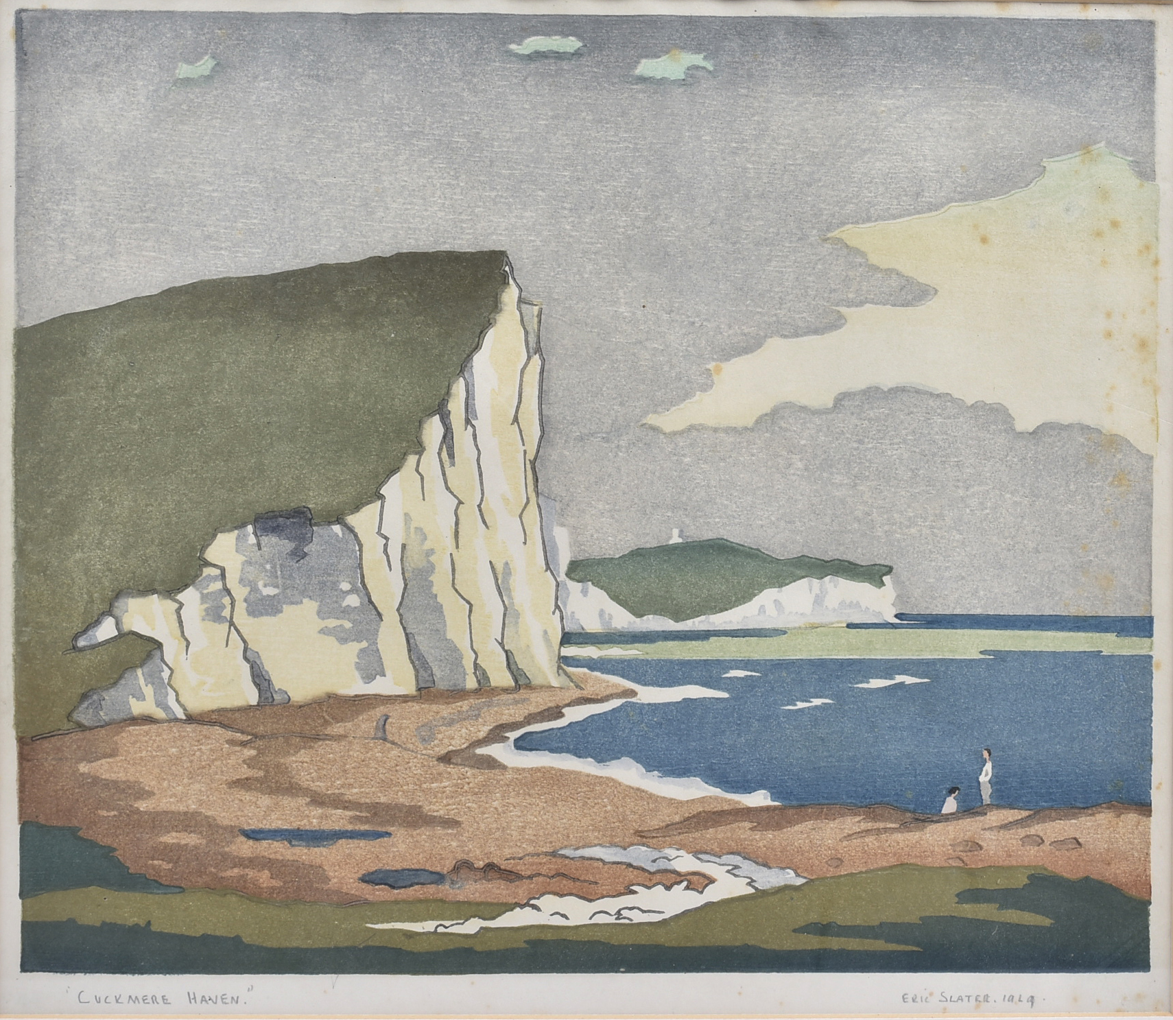 Eric Slater (1896-1963) coloured woodcut, 'Cuckmere Haven', 1929, signed, dated and titled in pencil