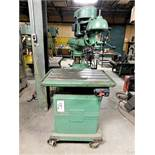 WALKER-TURNER RADIAL DRILL, FLOOR MODEL ON HEAVY DUTY LOCKING CASTERS, W/ ACCUPRO SPEED CHUCK