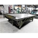 "HEAVY DUTY STEEL FABRICATION/LAYOUT/WELDING TABLE, TOP MEASURES 85-1/4"" X 4' X 2-1/2"" THICK, 3-LEG"