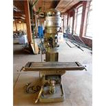 "BRIDGEPORT J HEAD ROUND ARM VERTICAL MILLING MACHINE, 9"" X 42"" TABLE, S/N 24934, J HEAD S/N J-36913,"