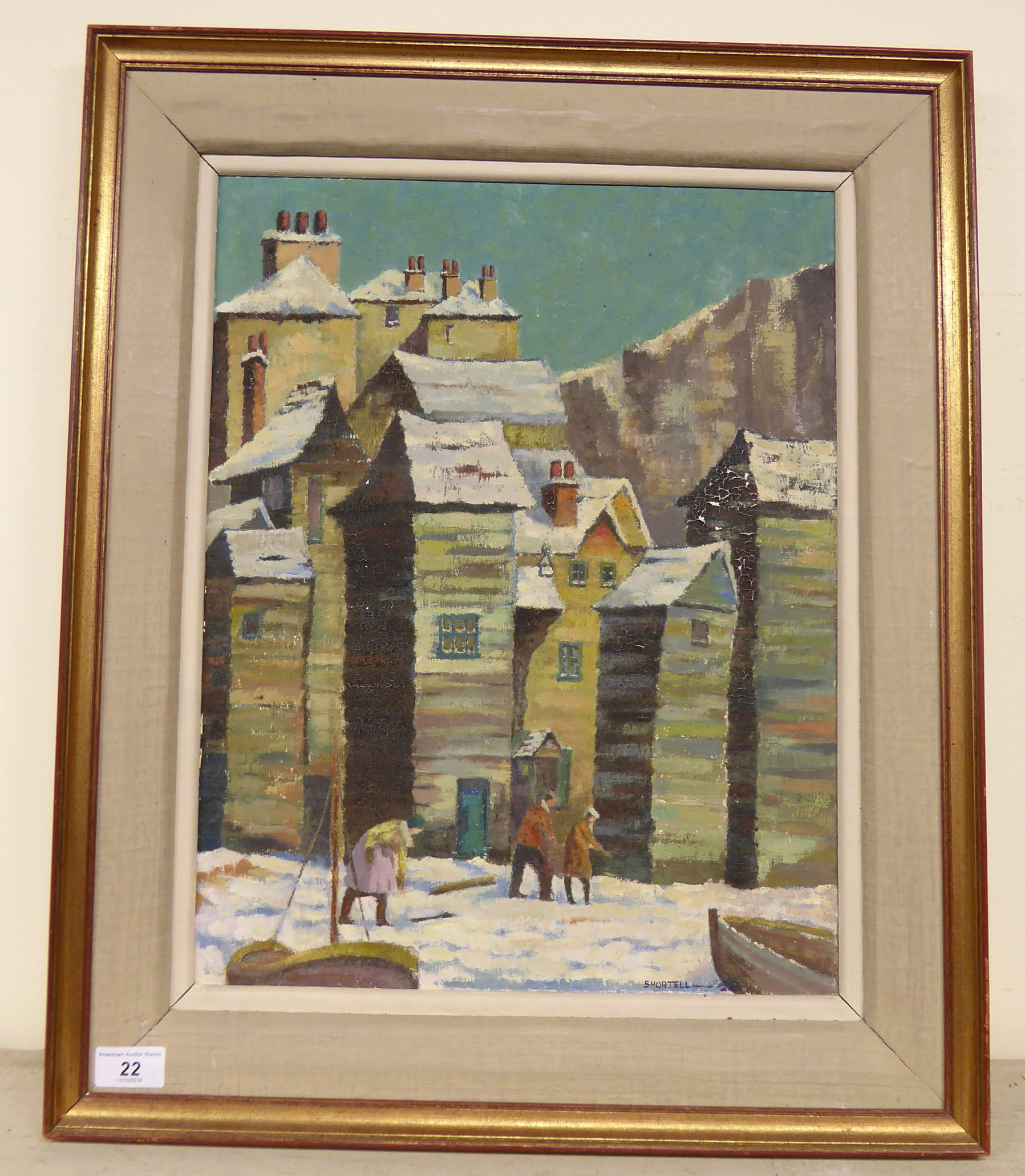 Lot 22 - LH Shortnell - 'The Net Sheds, Hastings' oil on board bears a signature 18.