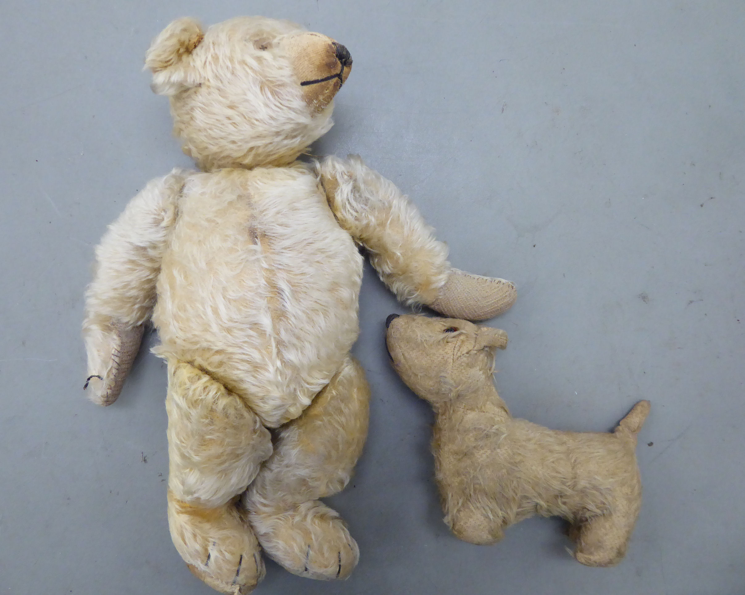 Lot 1 - A 1930s mohair Teddy bear with button eyes and mobile limbs 16''h;