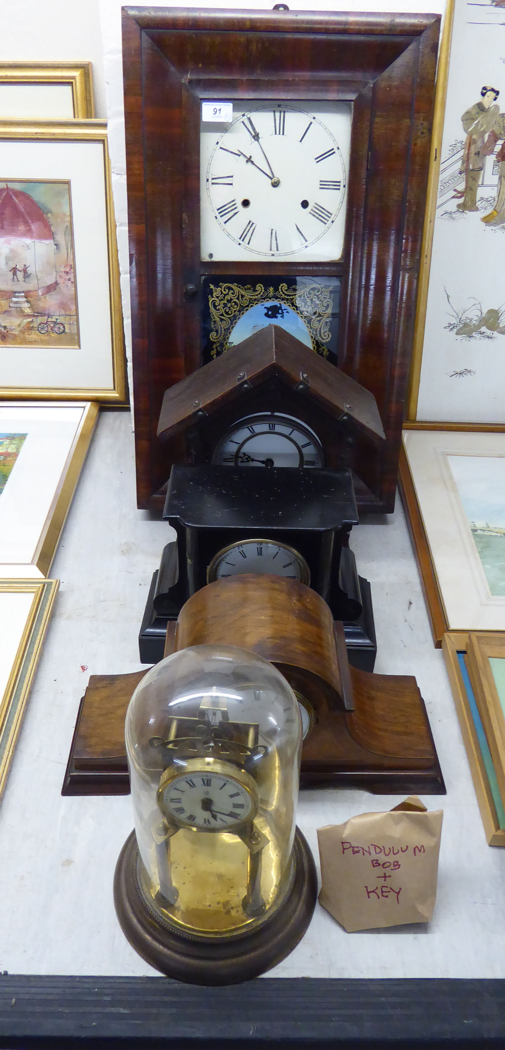 Lot 91 - Five Victorian and later clocks: to include an Anniversary timepiece;
