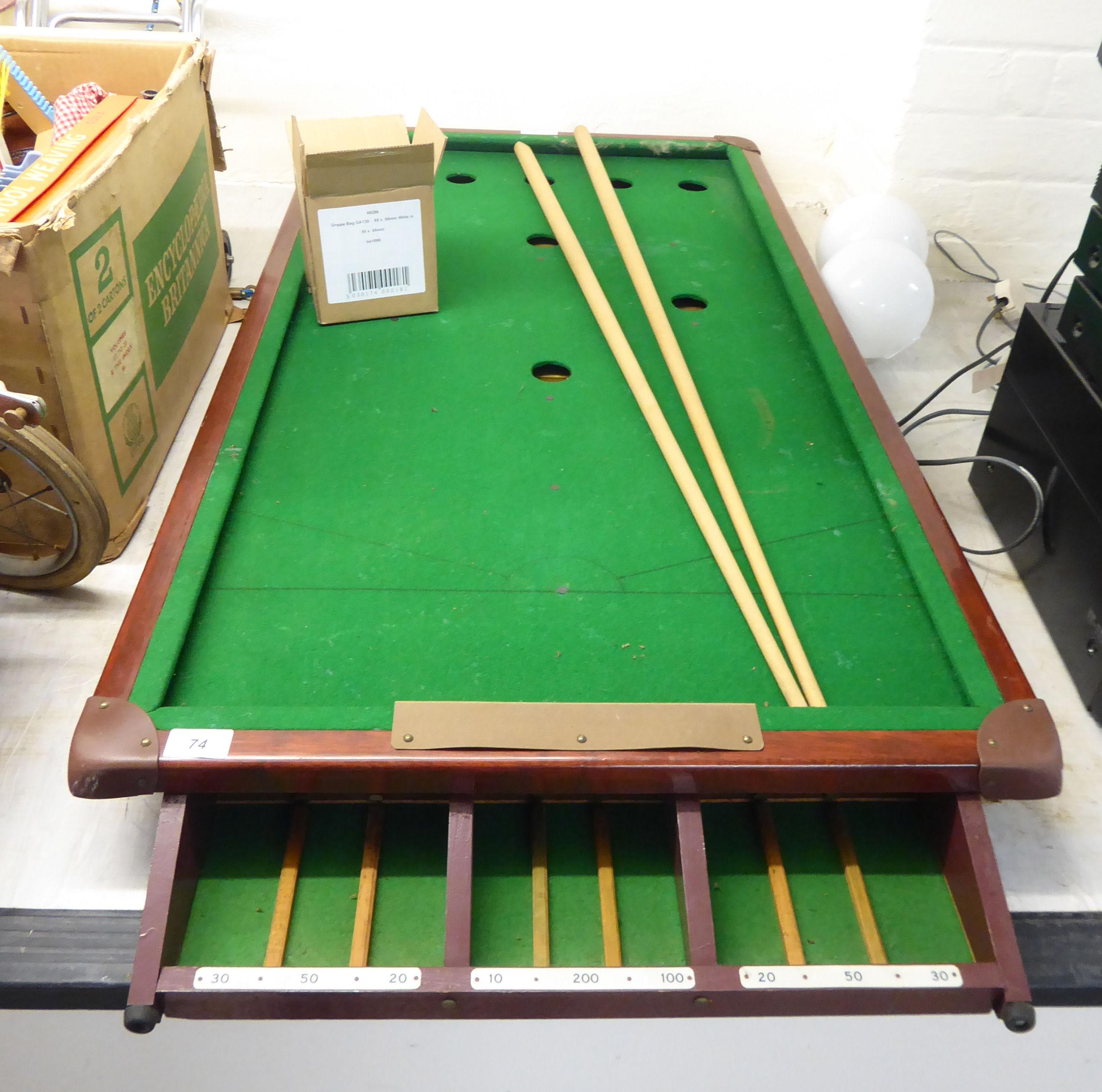 Lot 74 - A Joe Davis mahogany finished billiards table with accessories 24'' x 50'' BSR