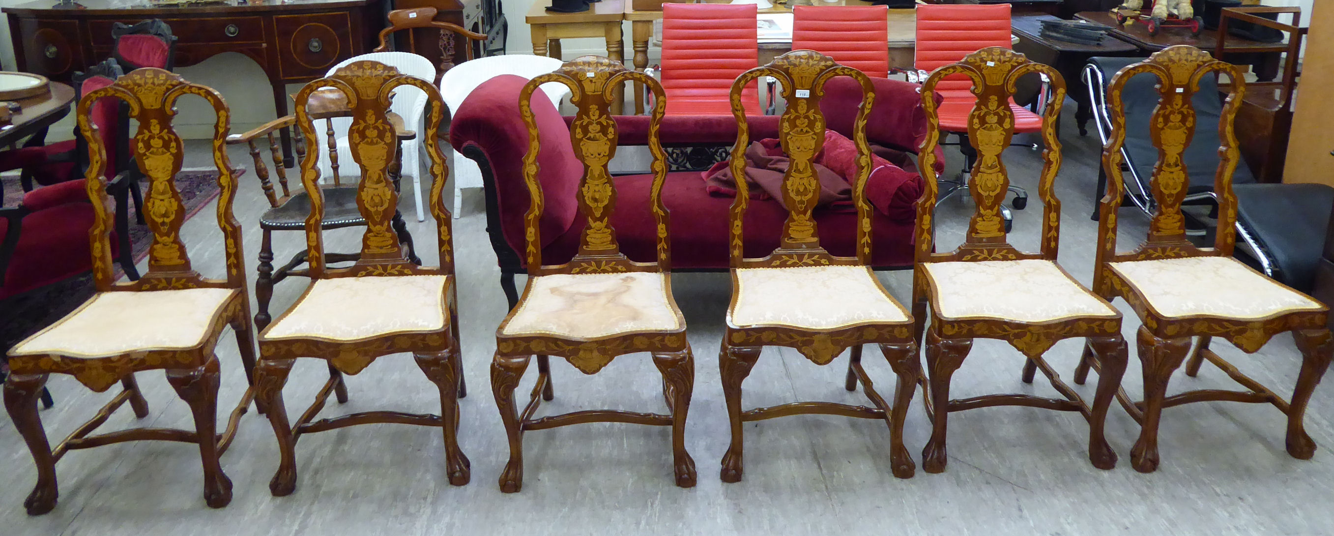 Lot 118 - A set of six reproduction Queen Anne period,