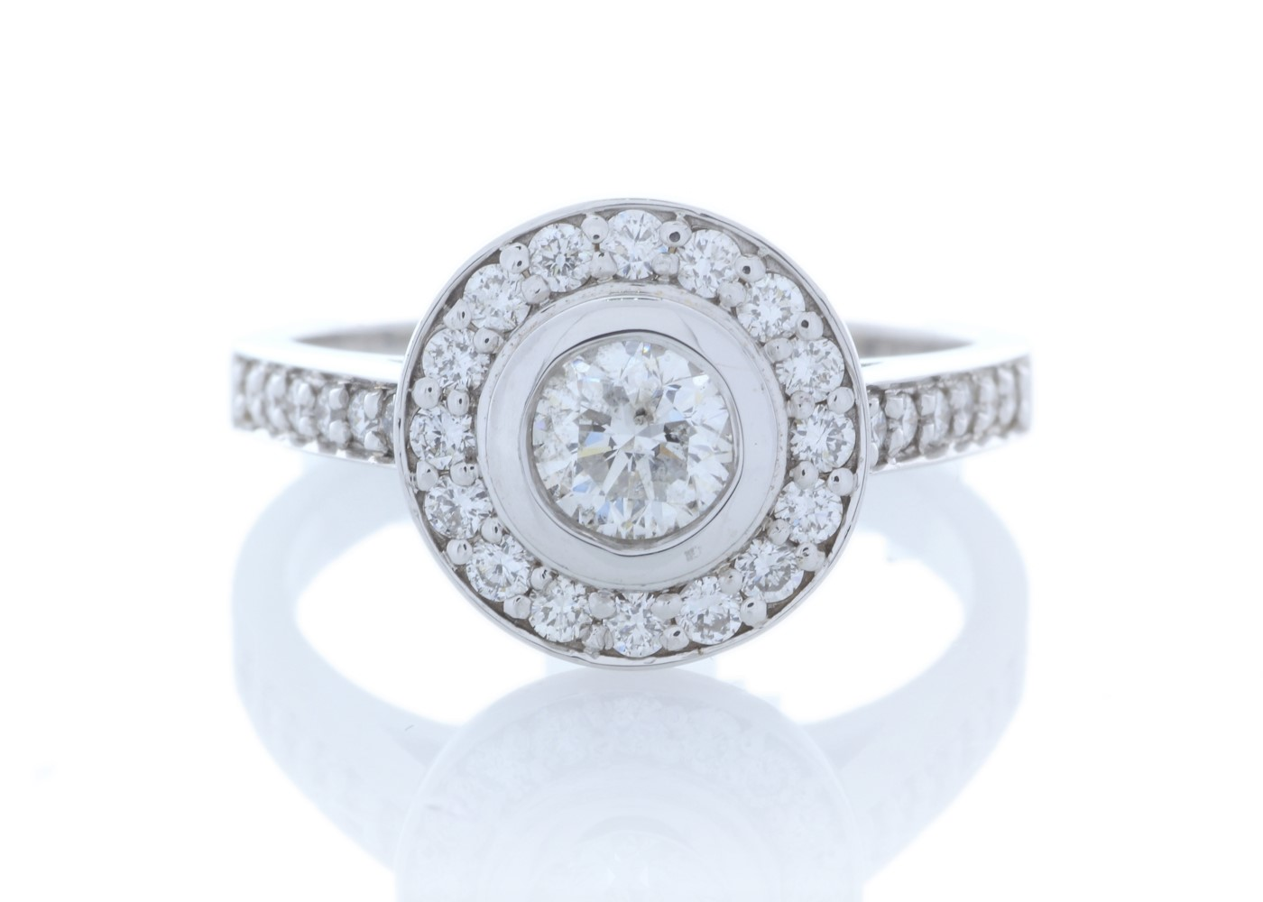 18ct White Gold Single Stone With Halo Setting Ring (0.50) 1.00 Carats
