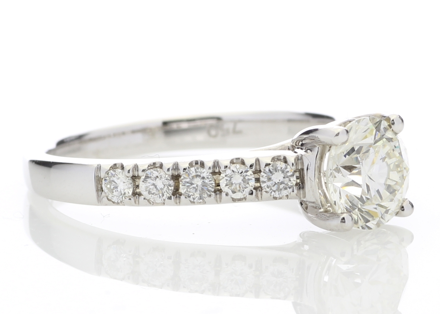 18ct White Gold Single Stone Diamond Ring With Stone Set Shoulders (1.02) 1.32 Carats - Image 4 of 5