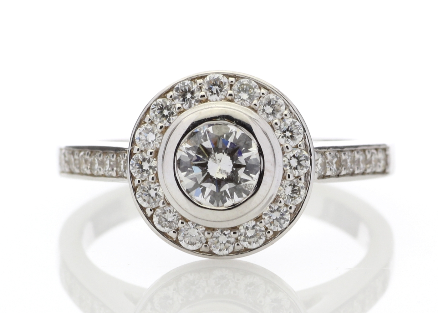 18ct White Gold Single Stone With Halo Setting Ring (0.50) 1.00 Carats - Image 5 of 6