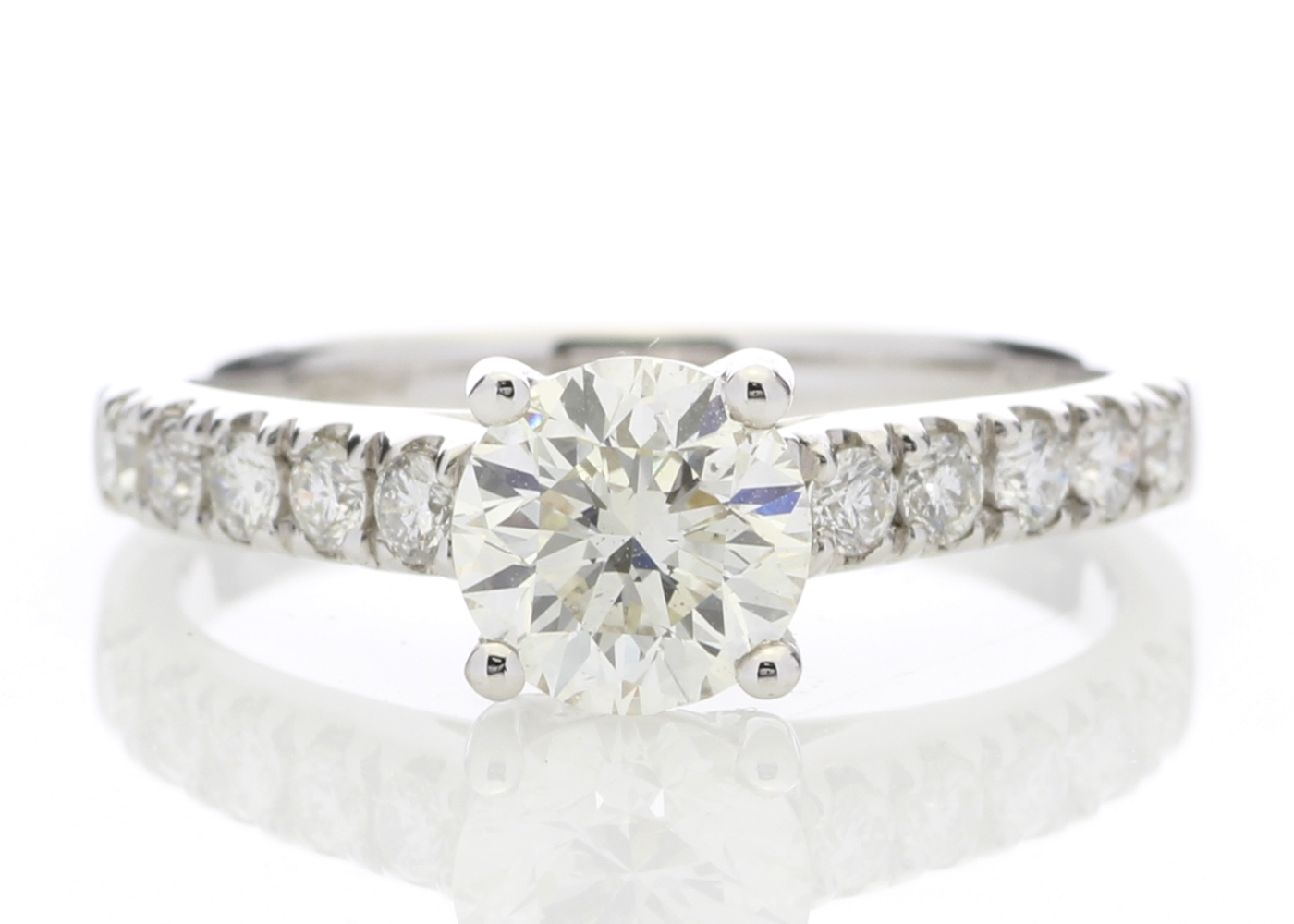 18ct White Gold Single Stone Diamond Ring With Stone Set Shoulders (1.02) 1.32 Carats
