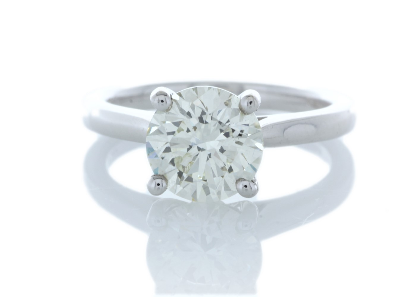 18ct White Gold Single Stone Claw Set Diamond Ring 2.05 Carats