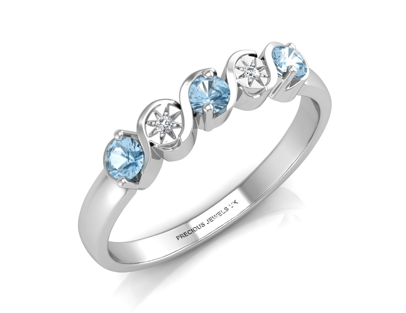 9ct White Gold Semi Eternity Diamond And Blue Topaz Ring 0.01 Carats