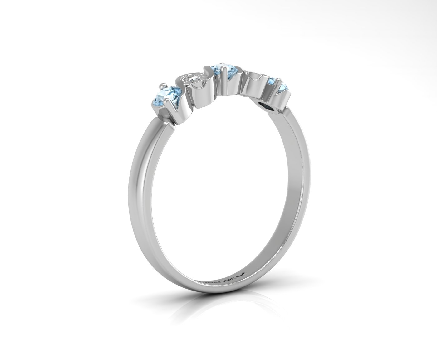 9ct White Gold Semi Eternity Diamond And Blue Topaz Ring 0.01 Carats - Image 2 of 4