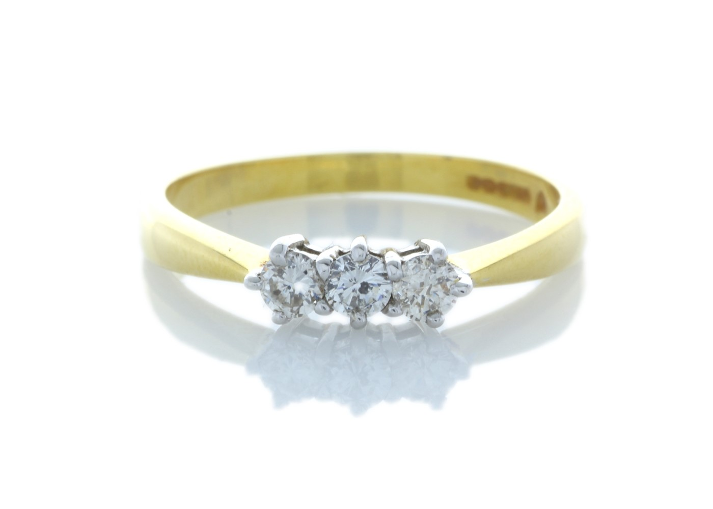 9ct Yellow Gold Three Stone Claw Set Diamond Ring 0.25 Carats