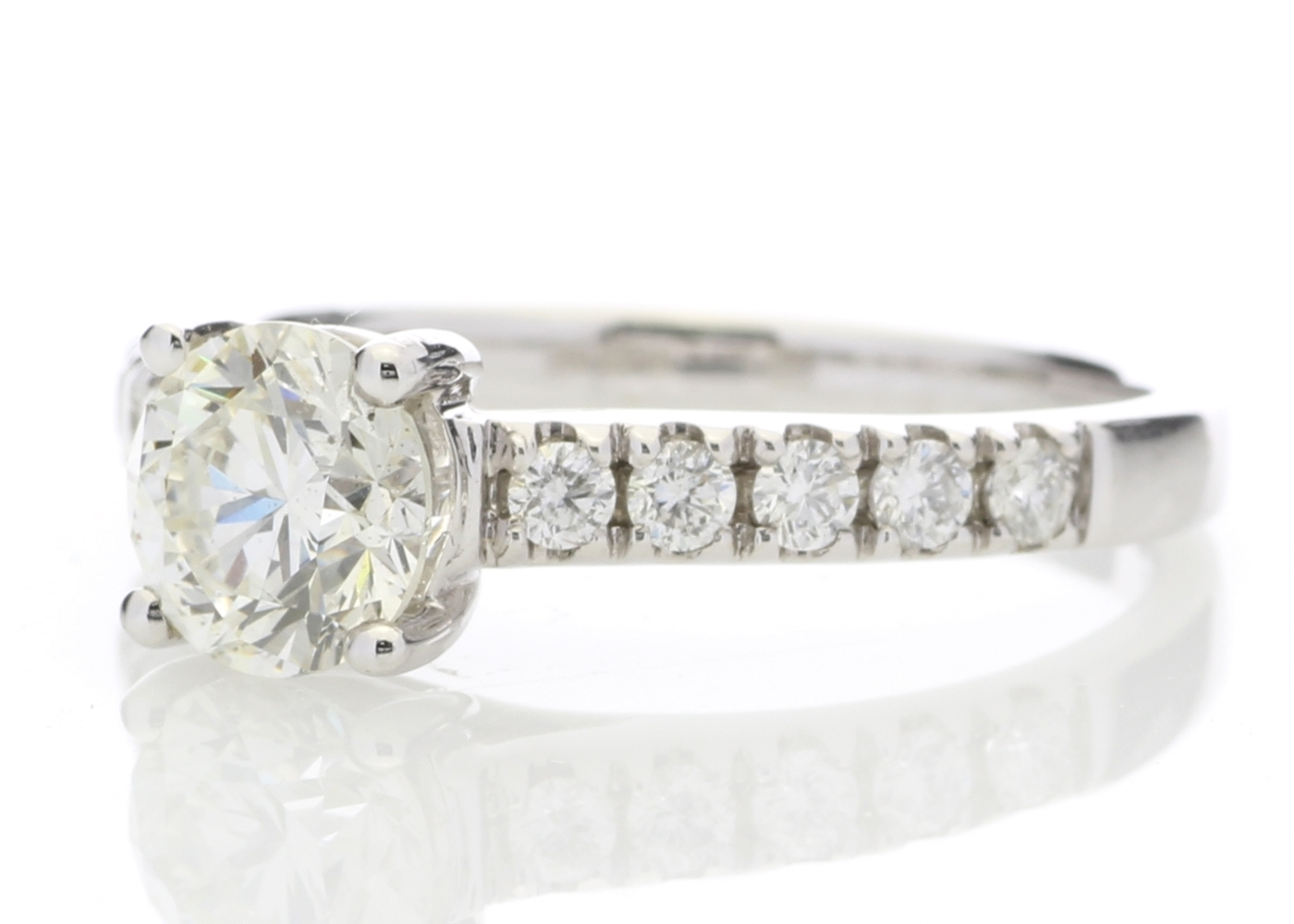 18ct White Gold Single Stone Diamond Ring With Stone Set Shoulders (1.02) 1.32 Carats - Image 2 of 5