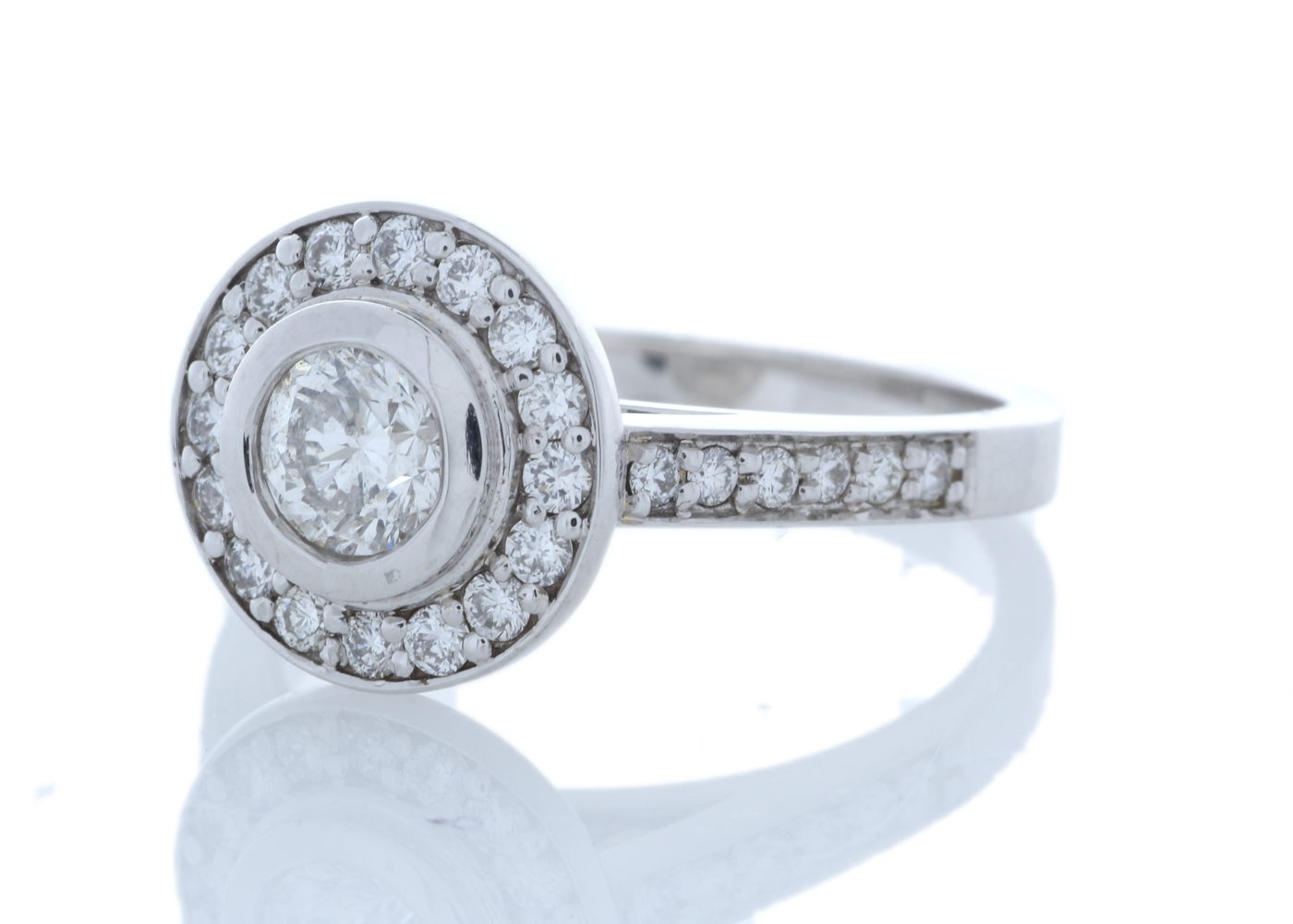 18ct White Gold Single Stone With Halo Setting Ring (0.50) 1.00 Carats - Image 4 of 6