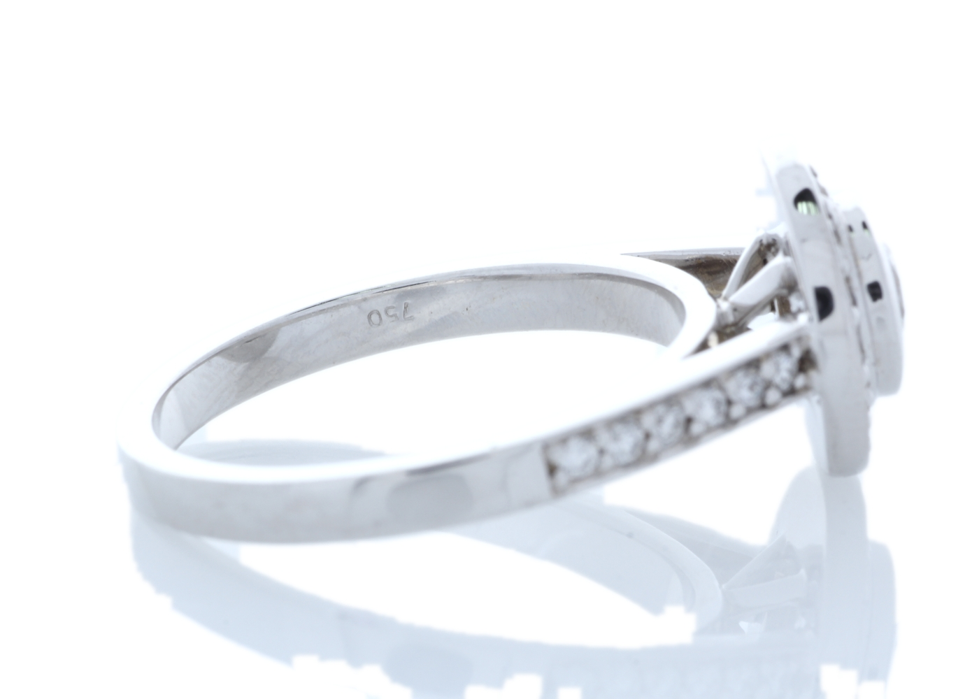 18ct White Gold Single Stone With Halo Setting Ring (0.50) 1.00 Carats - Image 2 of 6