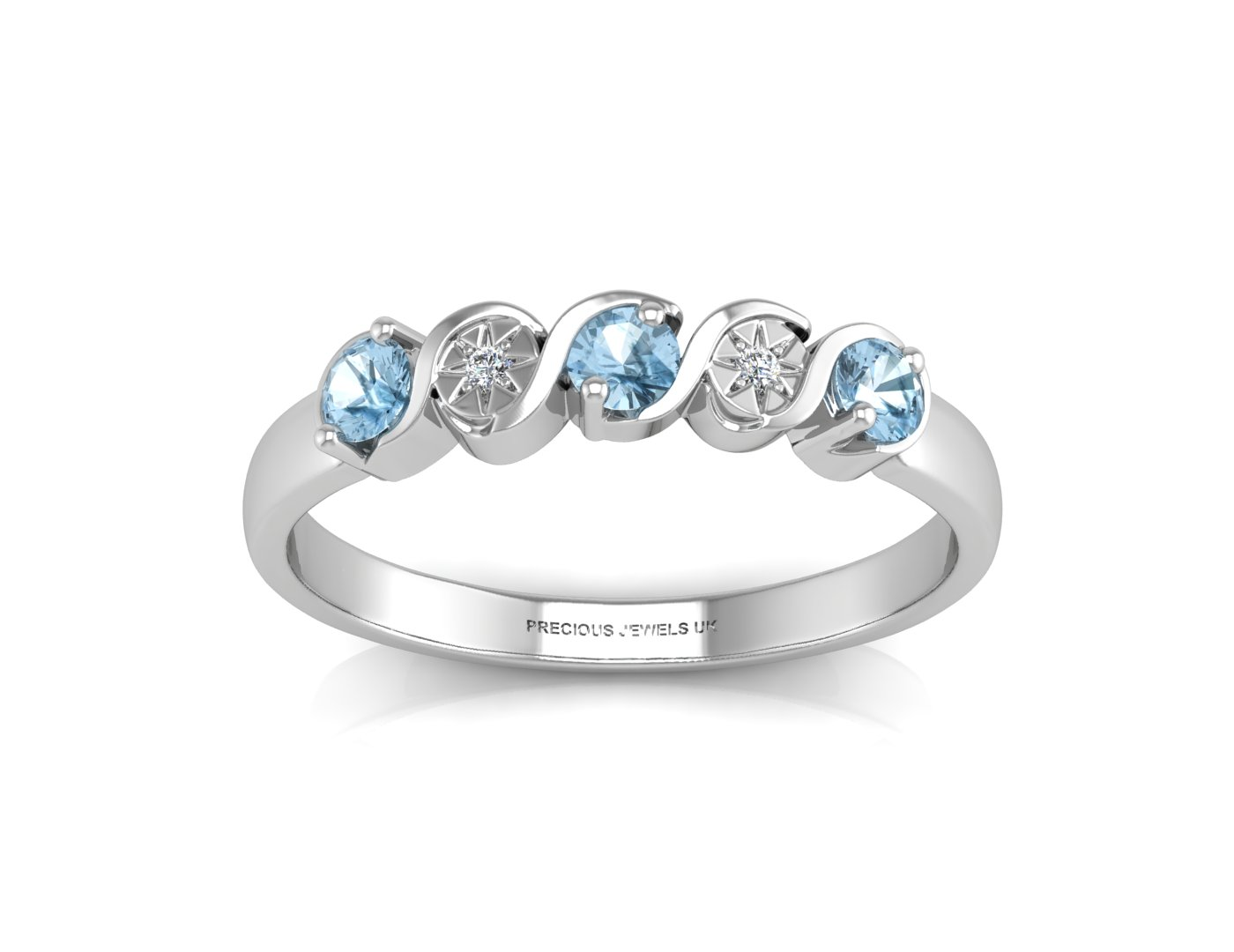 9ct White Gold Semi Eternity Diamond And Blue Topaz Ring 0.01 Carats - Image 3 of 4