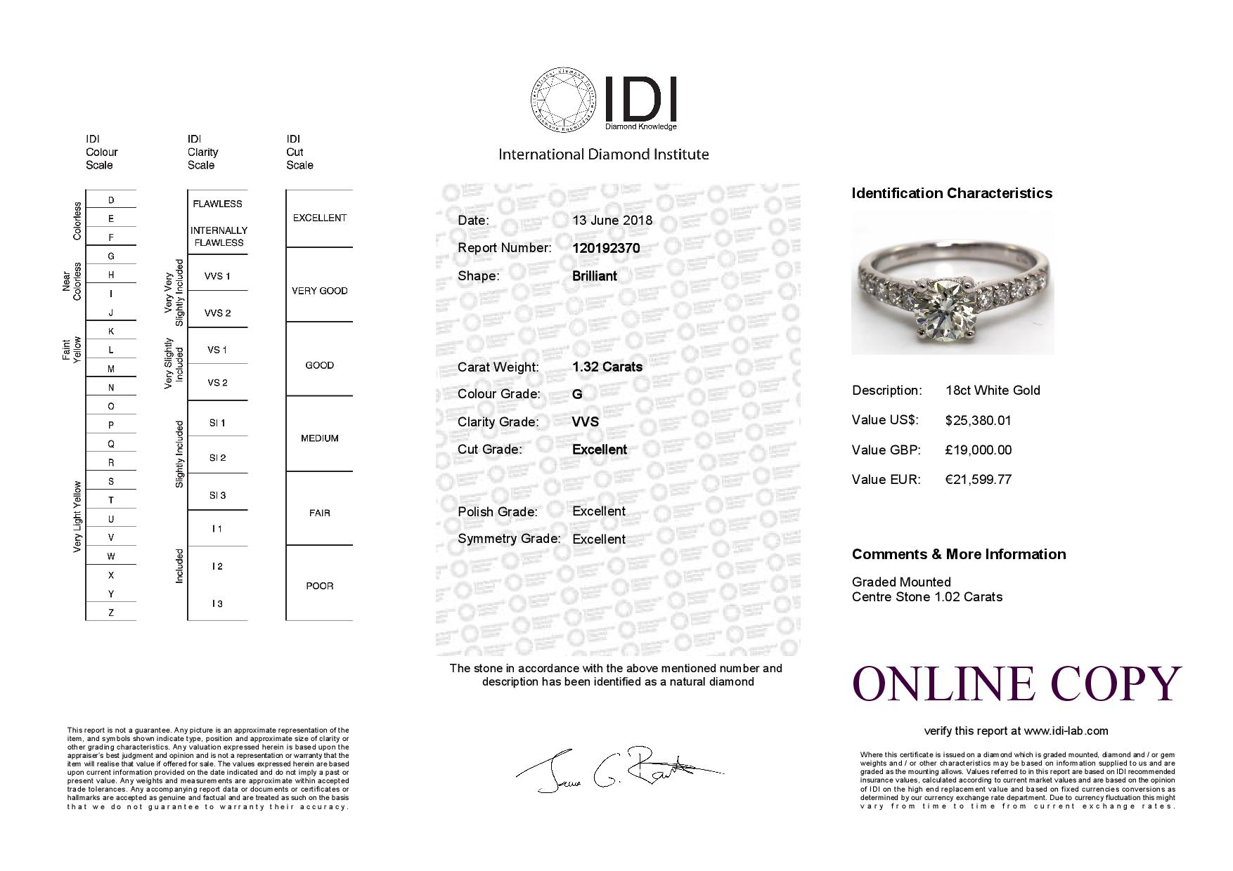 18ct White Gold Single Stone Diamond Ring With Stone Set Shoulders (1.02) 1.32 Carats - Image 5 of 5