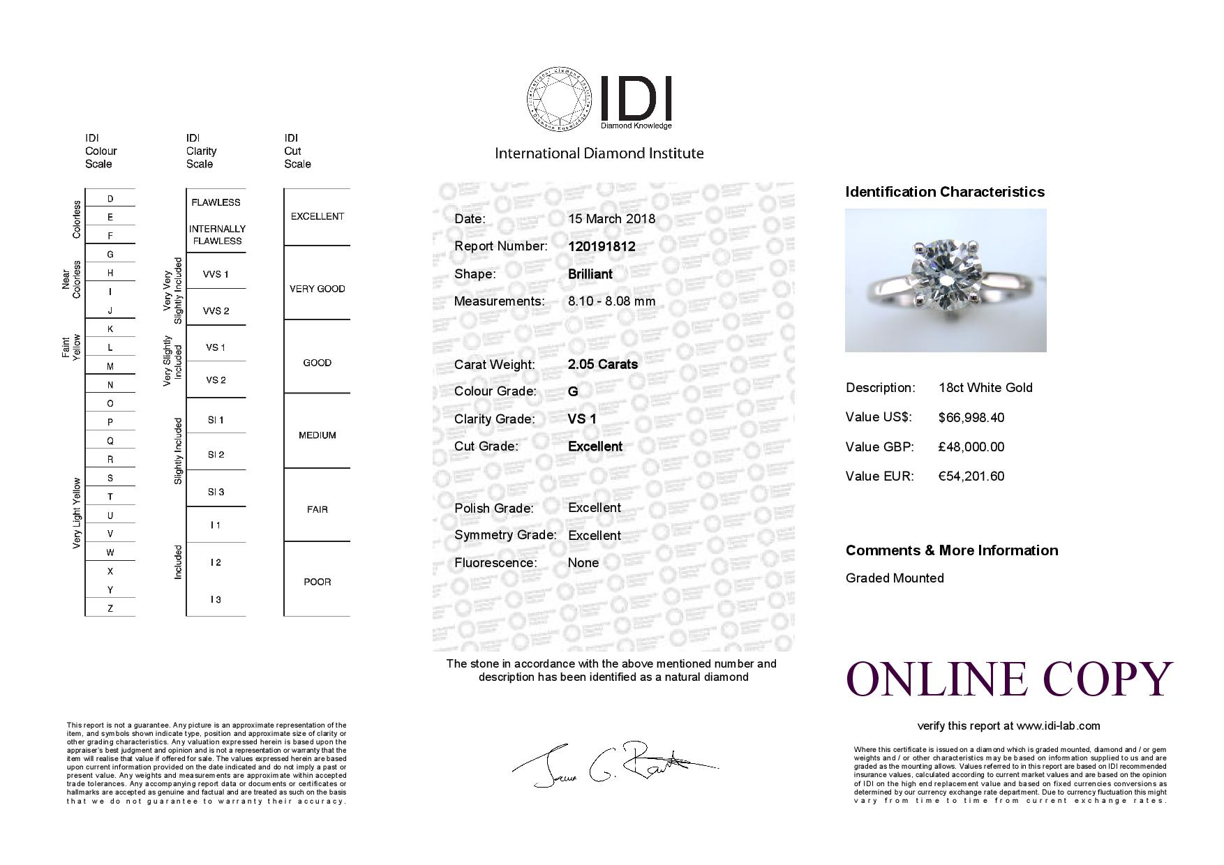 18ct White Gold Single Stone Claw Set Diamond Ring 2.05 Carats - Image 5 of 5