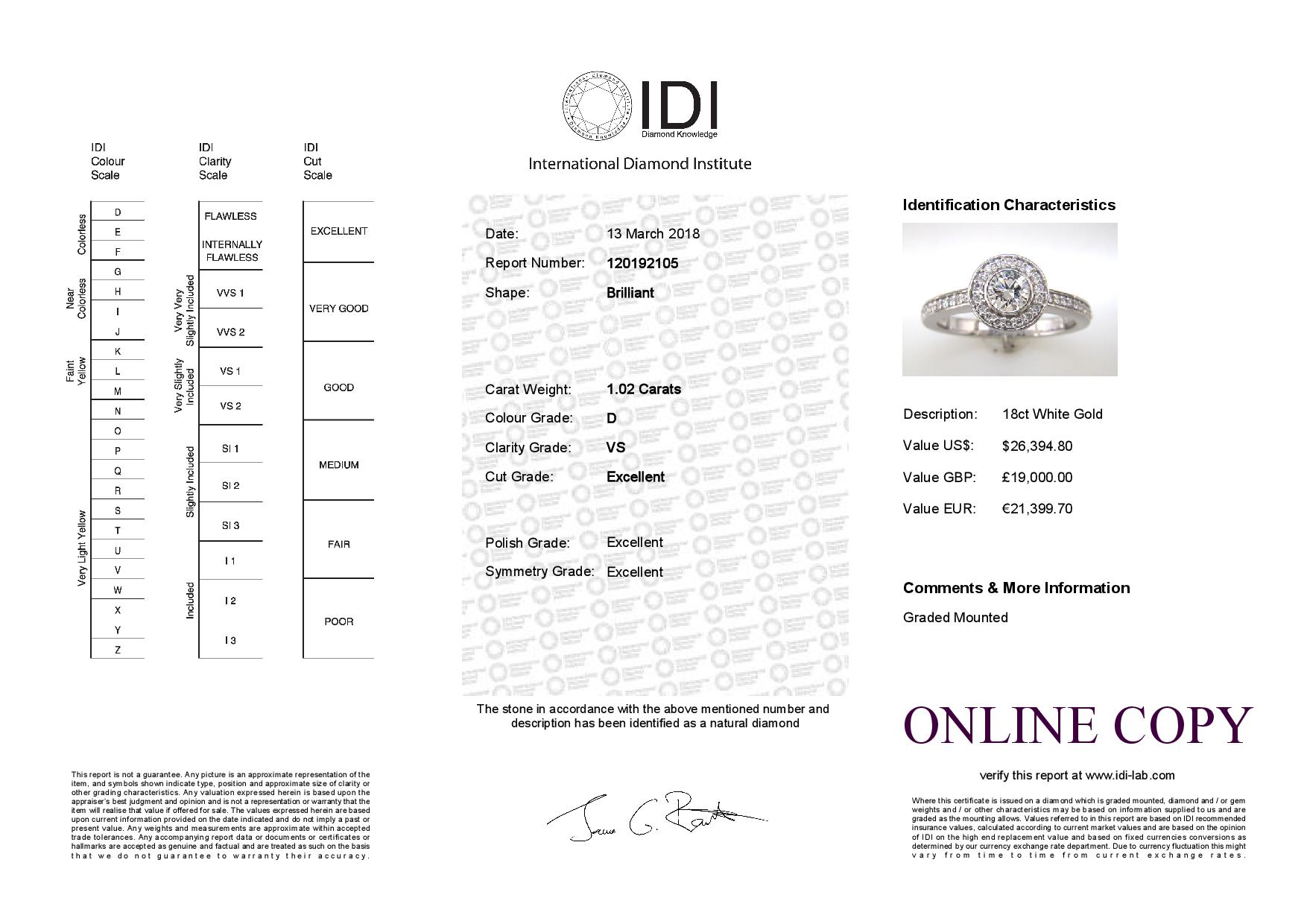 18ct White Gold Single Stone With Halo Setting Ring (0.50) 1.00 Carats - Image 6 of 6